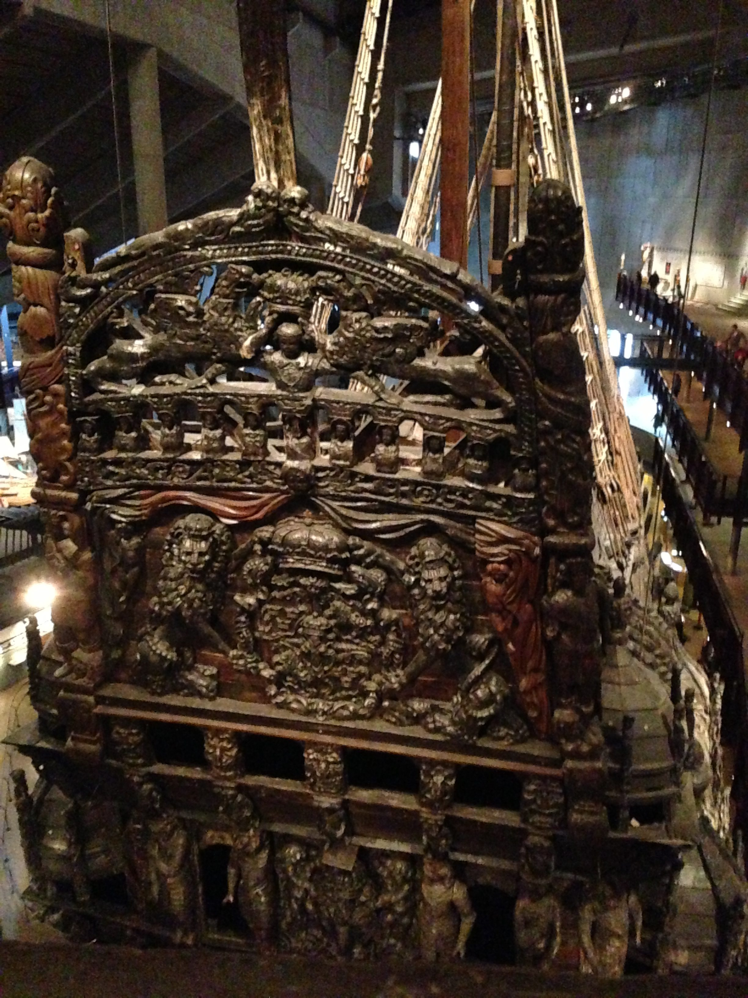 The original coat of arms on the Vasa warship in Stockholm