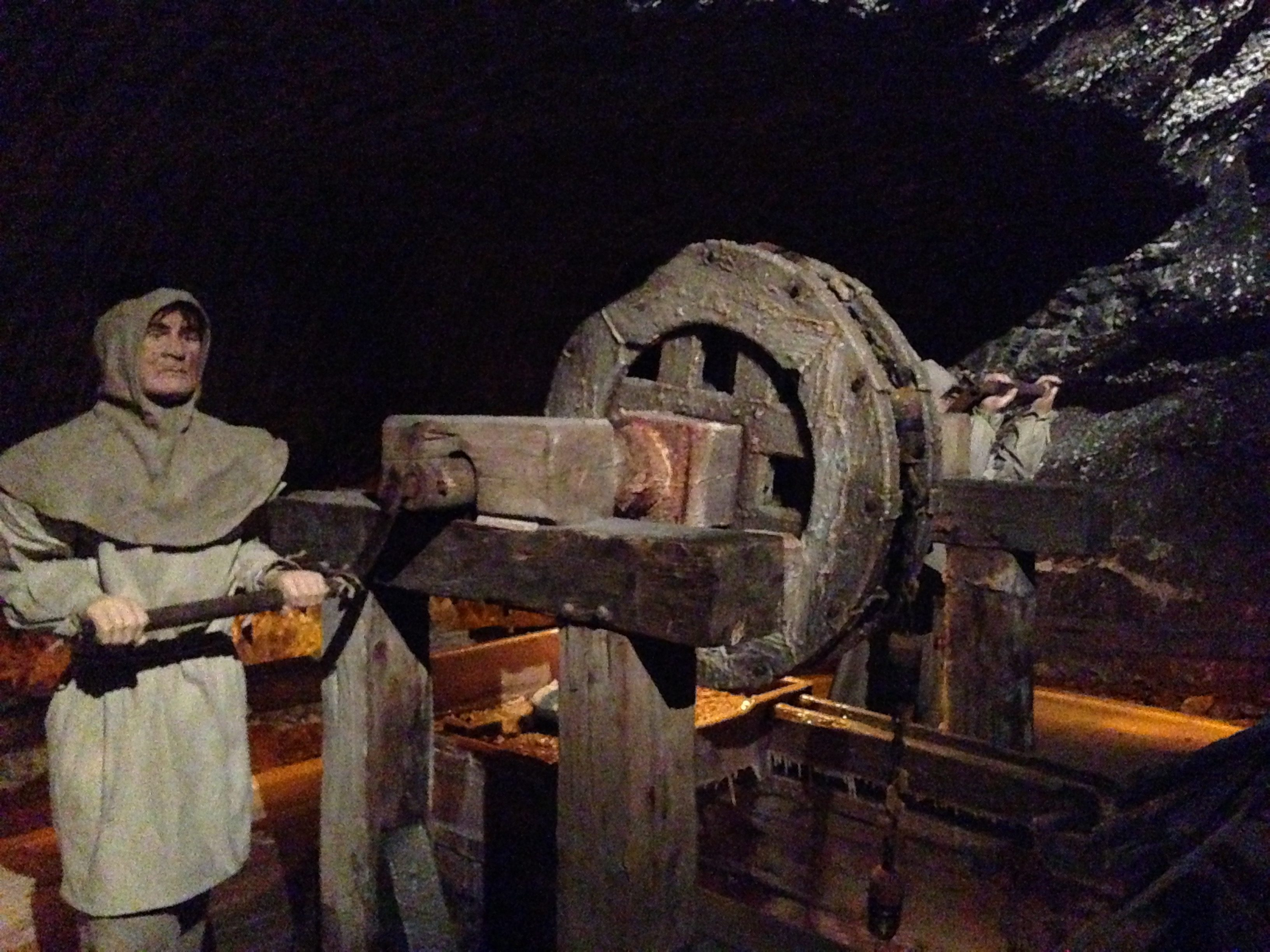 Model statue of a miner turning the wheels in the Wieliczka Salt Mines