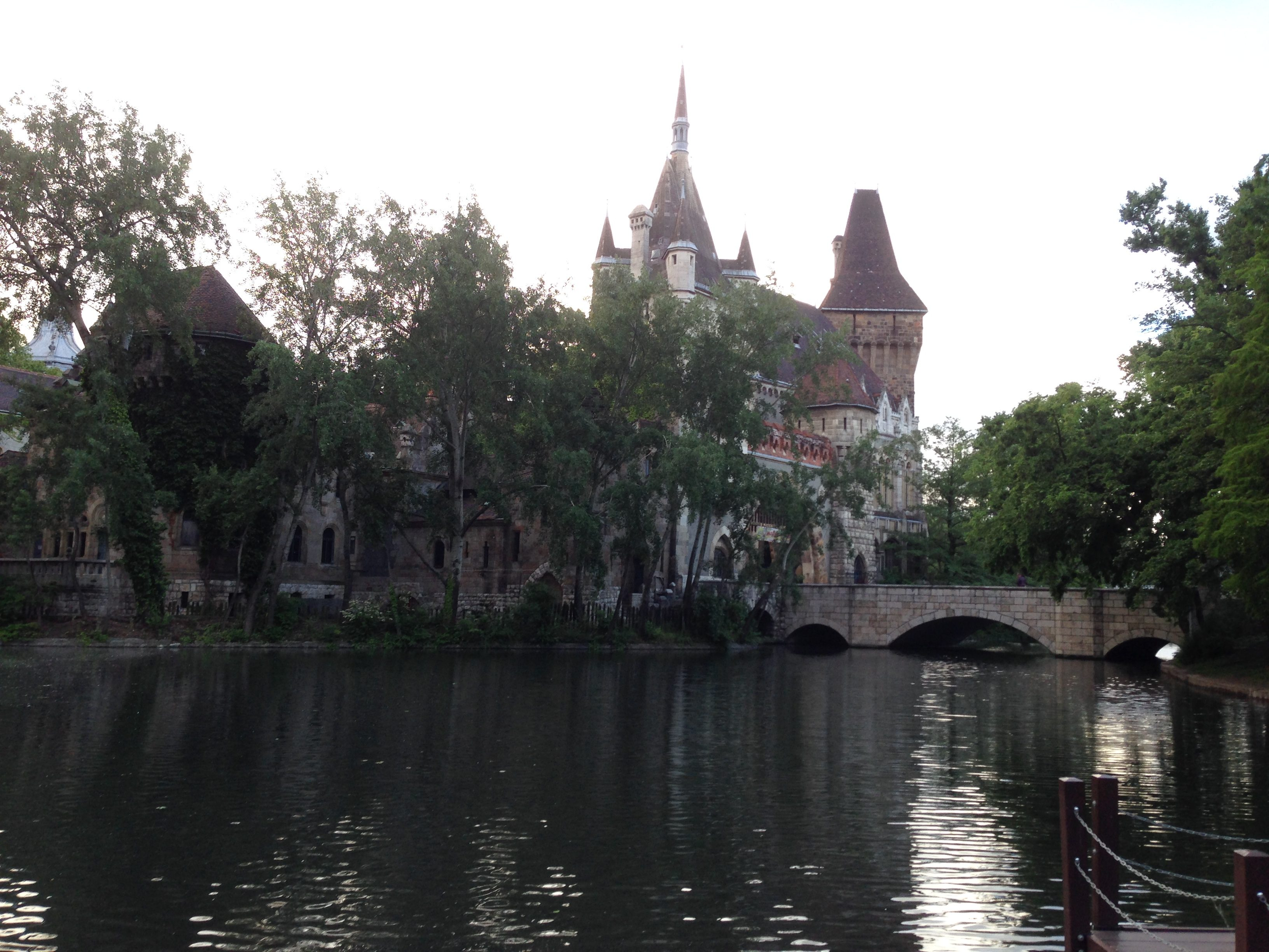 Vajdahunyad Castle and moat in Budapest
