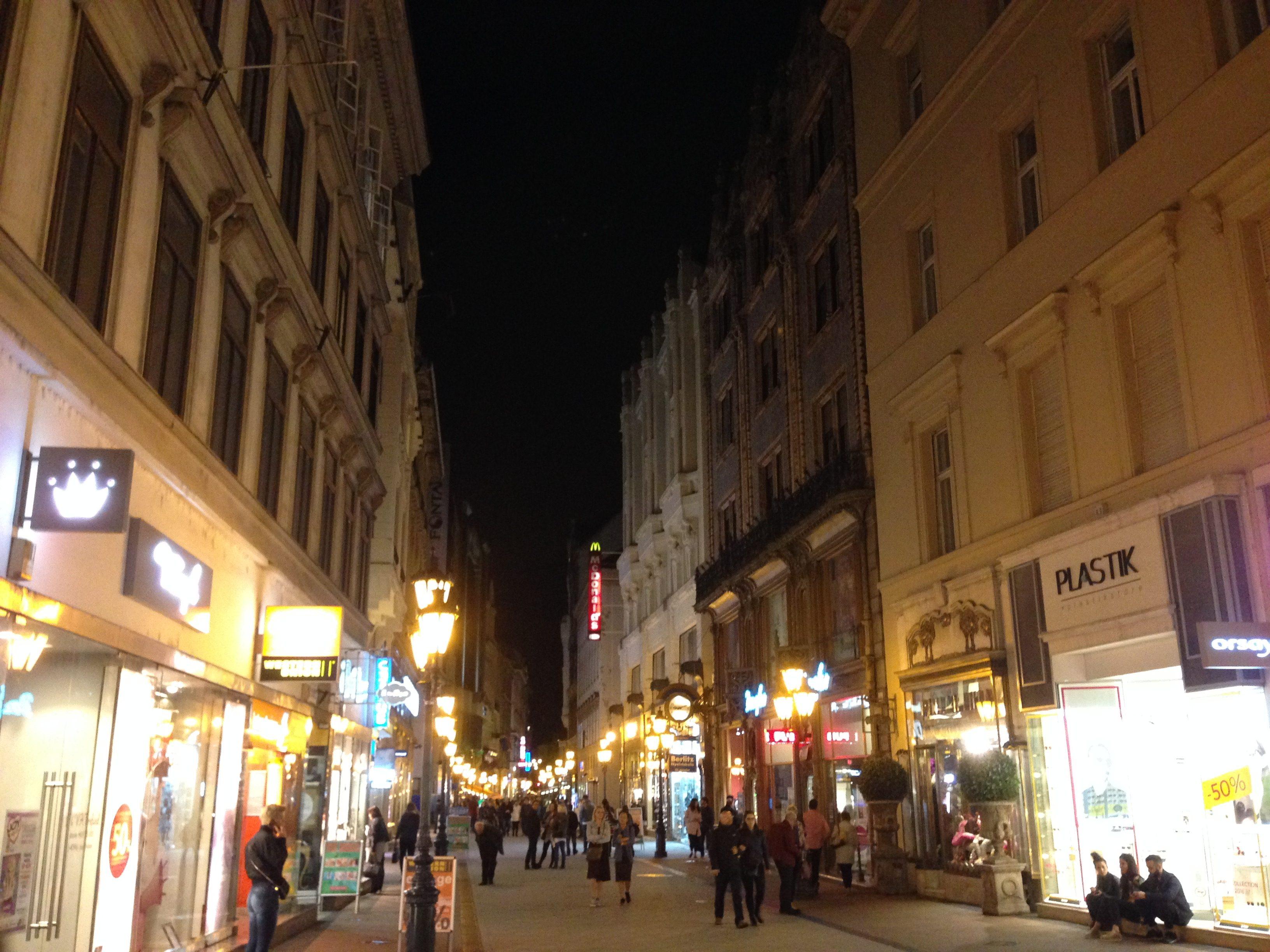Budapest's busy street Vaci Utca