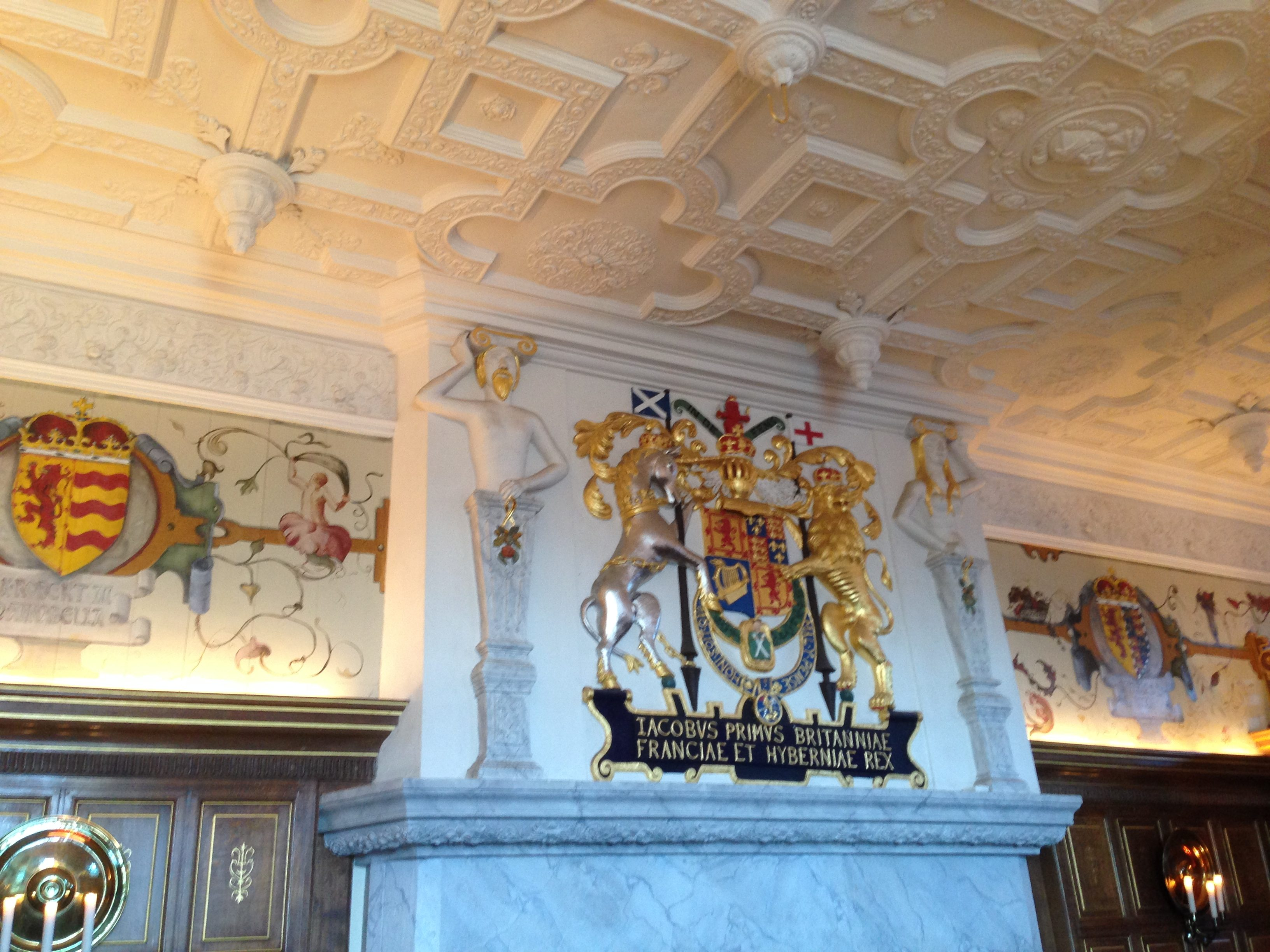 The coat of arms above the fireplace in the Laich Hall at Edinburgh Castle