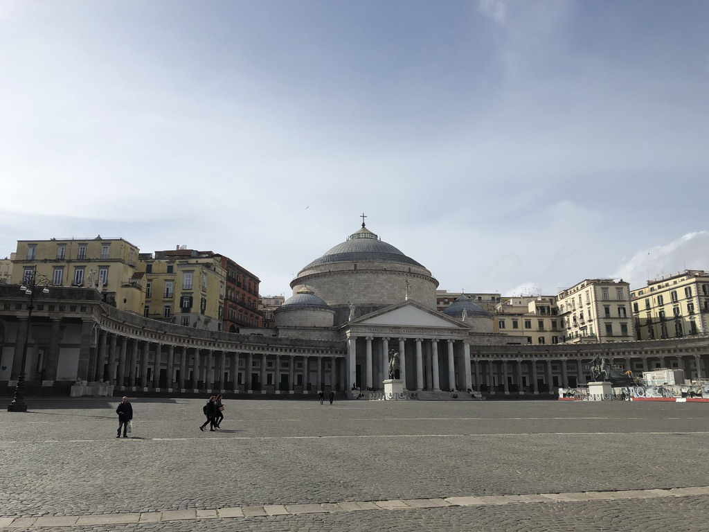 Piazza Plebiscito in Naples, Italy shortly before nationwide lockdown