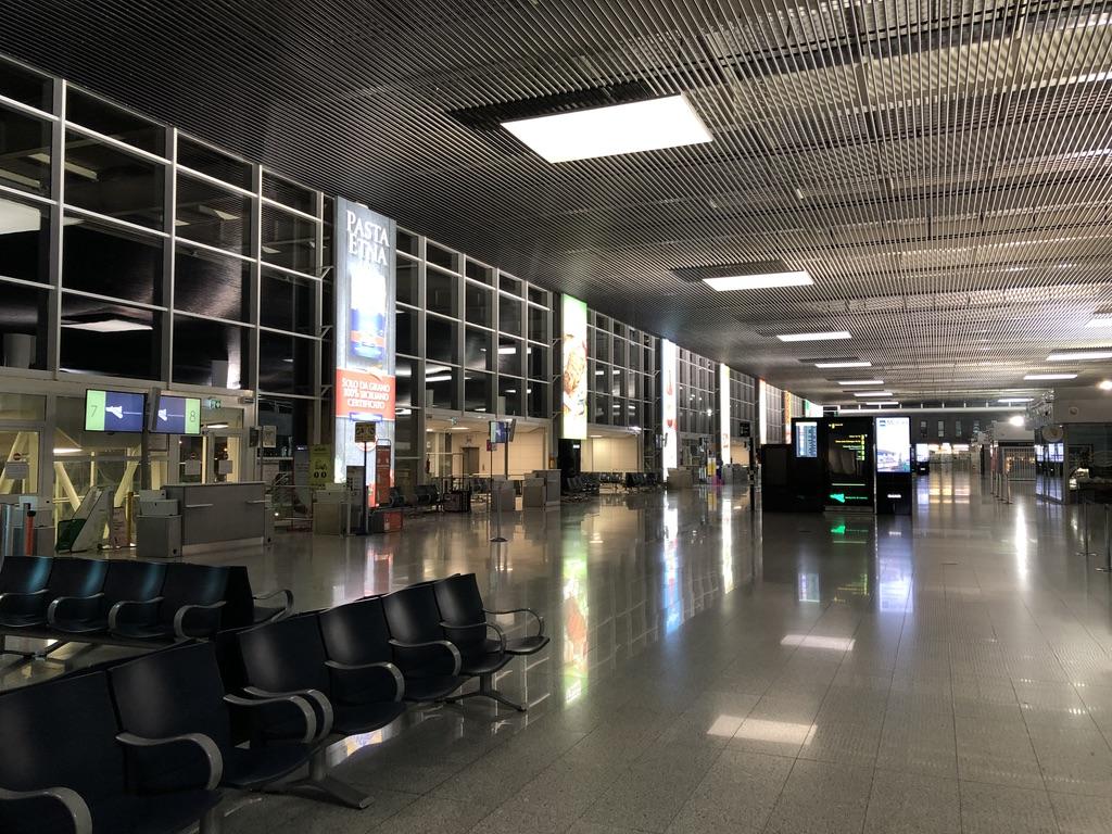 Catania Airport waiting hall.