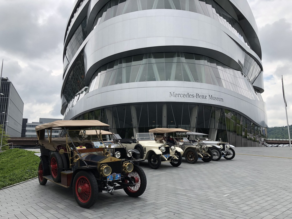Vintage automobiles on display outside the Mercedes-Benz Museum in Stuttgart