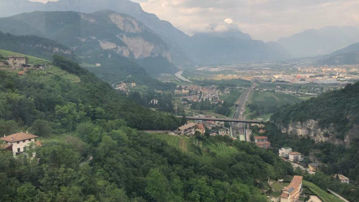 Cable care ride over the Adige.